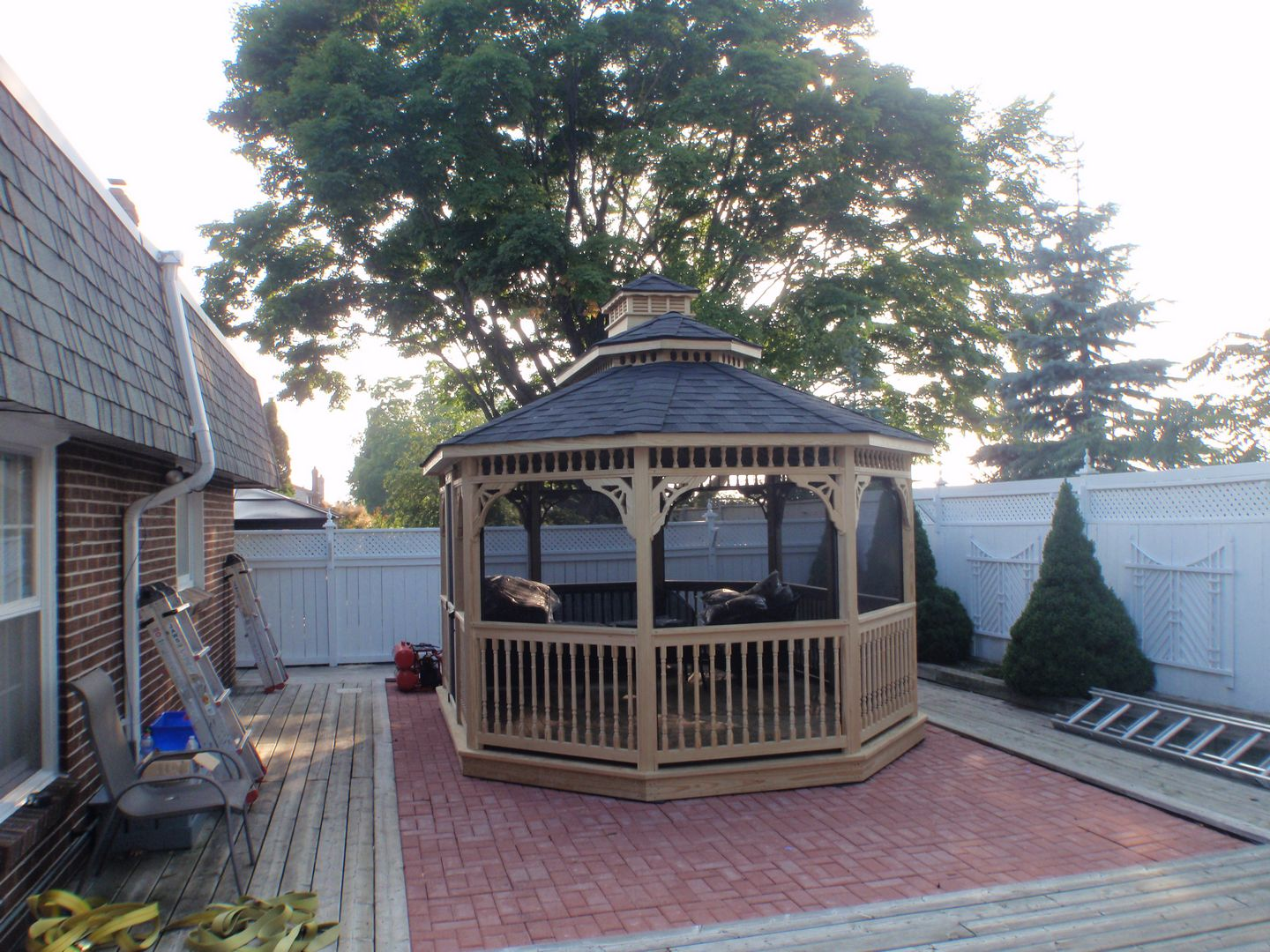 wooden oval gazebo