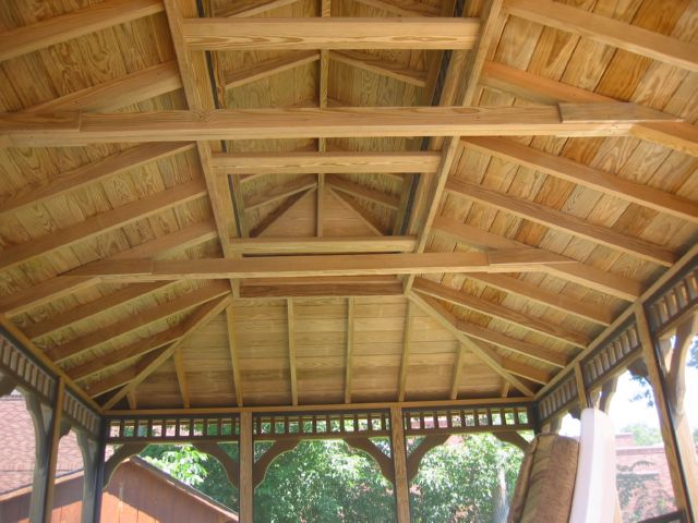 wooden 12 by 18 foot rectangle gazebo ceiling